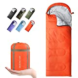 MOONCAST Sleeping Bag 4 Seasons - Warm & Cold Weather - Lightweight, Portable, Waterproof - Use for Kids, Teens & Adults for Hiking and Camping (Mandarin Red/Right Zip)