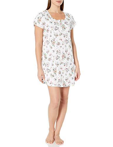 Karen Neuburger Women's Pajama Short Sleeve Pj Sleepdress, Novelty Peach, Small