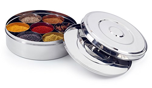 Zinel 7114 Spice Box/Masala Dabba with 7 Comparments and 2 Stainless Steel Lids, 18cm, Silver, 18 cm