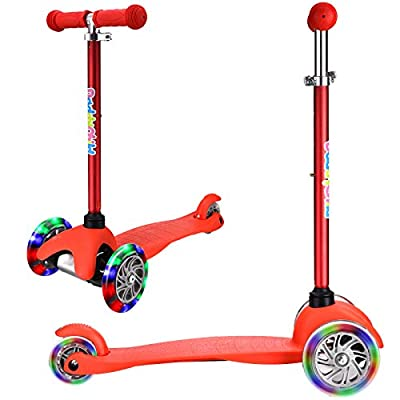 DADDYCHILD 3 Wheel Scooters for Kids, Kick Scooter for Toddlers 2-6 Years Old, Boys and Girls Scooter with Light Up Wheels, Mini Scooter for Children (Red)