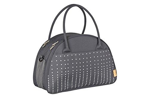 Lässig Casual Shoulder Bag Wickeltasche mit verstellbarem Schultergurt inkl. Wickelzubehör, Dotted lines, ebony