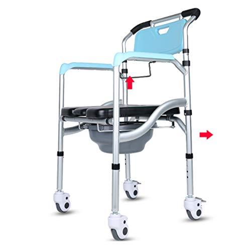 Asiento de Inodoro/Inodoro con Ruedas, con Asiento Acolchado, Frenos y reposapiés, Silla cómoda de cabecera Resistente, Ancianos, Recuperación de cirugía, Discapacitados