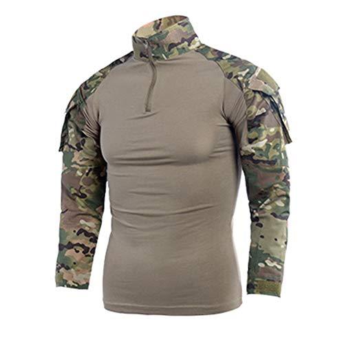 Herren Ripstop Taktisches Hemd Langarm Kampfhemd Multicam Militär T-Shirts Airsoft Hunting Woodland
