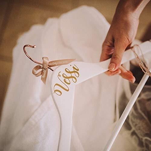 Percha de vestido de novia de cobre y blanco con nombre personalizado...