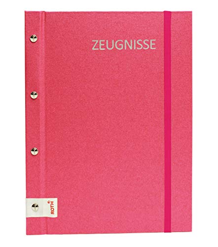 ROTH Zeugnismappe Metallium mit Buchschrauben Pink - erweiterbar und dokumentenecht für bis zu 24 Zeugnisse - Dokumentenmappe