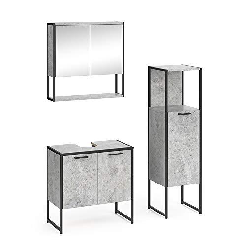Vicco Loft Badmöbel Set Fyrk Spiegelschrank Hochschrank Midischrank Unterschrank (Beton, Set 2)
