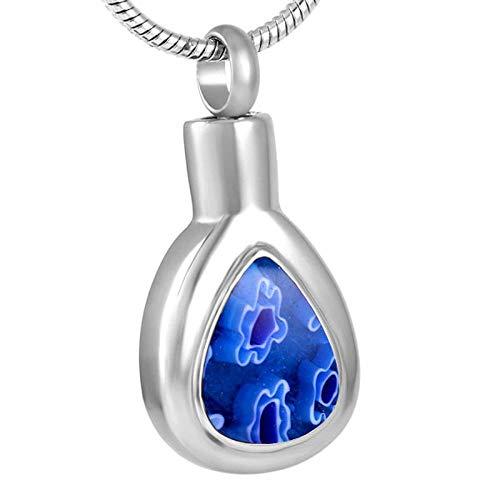 YXYSHX Las lágrimas Pueden Contener Cenizas para Hombres y Mujeres, Cilindro conmemorativo de cremación, Collar Colgante de joyería de Acero Inoxidable, Azul