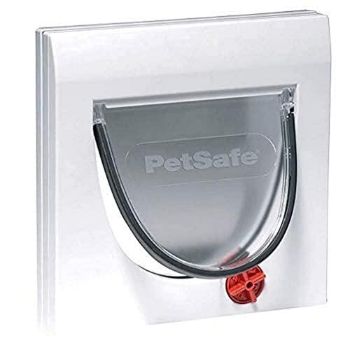 PetSafe Staywell Classic, Gatera Manual con 4 Opciones de Bloqueo para Madera, Vidrio, PVC, Pared de Ladrillo, Puerta para Gatos Resistente, Instalación Fácil, Túnel Incluido, Blanco