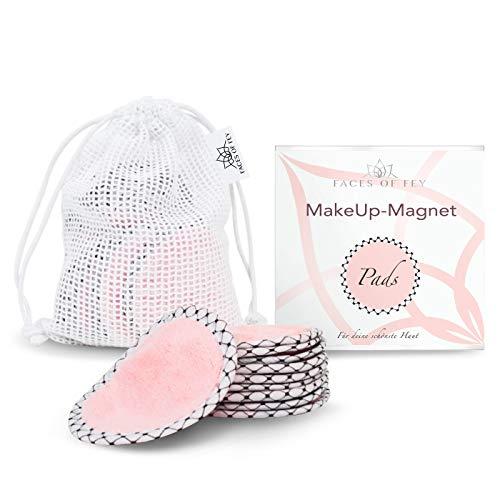 FACES OF FEY Make-Up-Magnet - Abschminkpads Mikrofaser - beidseitig verwendbare Gesichtsreinigungspads - Make-Up-Entferner-Pad waschbar und wiederverwendbar -10er Pack ø10cm + Wäschesäckchen