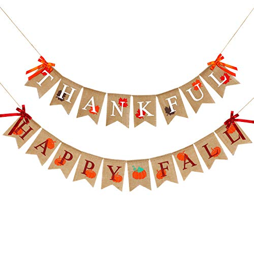2 Pieces Thankful Banner Happy Fall Banner Burlap Thanksgiving Fall Rustic Garland Banner Set for Fall Harvest Thanksgiving Decorations (Color Set 2)