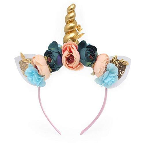 ONECHANCE Diadema de cuerno de unicornio con decoración de flores de lentejuelas...