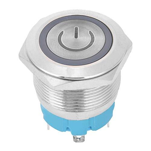 Metal 12-24VDC Interruptor de botón pulsador de 4 pines y 4 pines Interruptor de botón pulsador momentáneo 2 piezas con letrero de luz de encendido para orificio de(white)