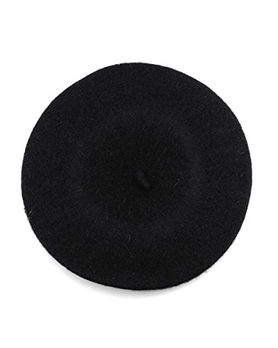 NYFASHION101 French Style Lightweight Casual Classic Solid Color Wool Beret, Black
