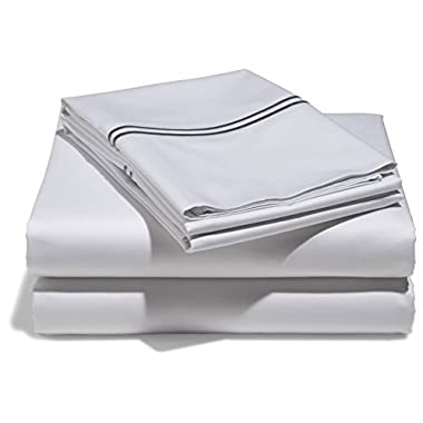 Mayfair Linen 100% Egyptian Cotton Sheets, Silver King Sheets Set, 800 Thread Count Long Staple Cotton, Sateen Weave for Soft and Silky Feel, Fits Mattress Upto 18'' DEEP Pocket