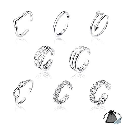 Toe Ring Silver para Mujer Conjunto de Anillo de Dedo Ajustable Anillo de Nudillo Abierto para Dedo del Pie con Tela 8pcs