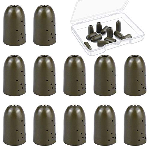 Ruisita 12 Pack Tungsten Flipping Weights Tungsten Bullet Weight Sinker Fishing Weights Worm Weights for Bass Fishing Assorted Sizes 1/4 Ounce (Green, 1/4 Ounce)