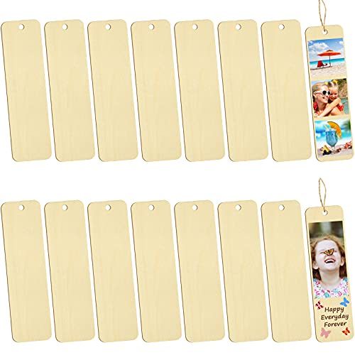 16 Pieces Sublimation Wooden Bookmark with Holes and Ropes Rectangle Heat Transfer Bookmarks Wood Crafts DIY Unfinished Blank Book Marker for Kids Women and Men