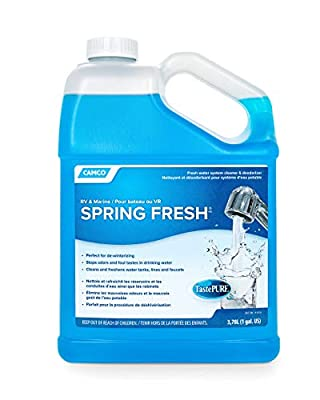 Camco TastePURE Spring Fresh Water System Cleaner and Deodorizer for RV and Marine - Cleans and Freshens Water Lines, Great for Dewinterizing - 1 Gallon (40207)