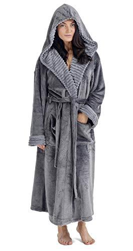 CityComfort Albornoz Mujer Ducha Súper Suave en Lana Polar Bata con Capucha (S, Carbón)