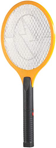 PEARL Mückenschläger: Elektrische Fliegenklatsche mit Akku, ladbar per USB, orange/schwarz (Elektronische Fliegenklatsche)