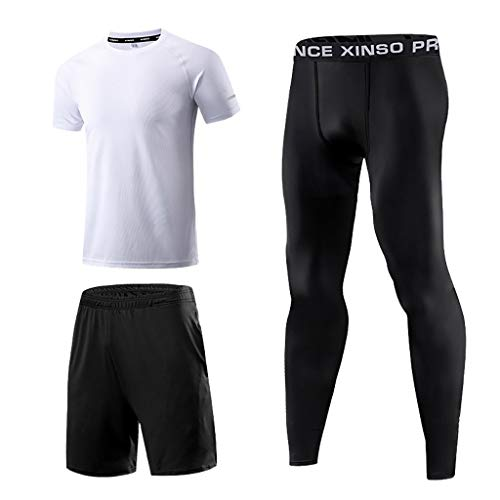 FRAUIT 3PC heren top+shorts + broek trainingspak zomer joggingpak T-shirt ronde hals slim fit katoenaandeel cool wit zwart basic T-shirt sportpak