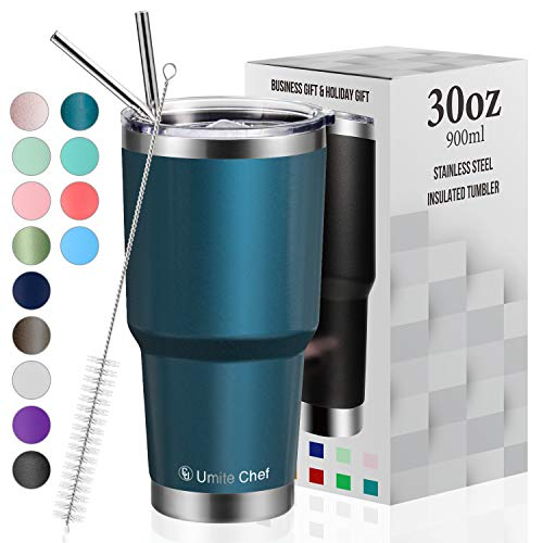 30oz Tumbler with Lid, Insulated Stainless Steel Travel Tumbler by Umite Chef, Insulated Coffee Mug, Double Wall Water Coffee Cup for Home, Office, 2 Straws, Brush & Gift Box(30oz, Blue Green)