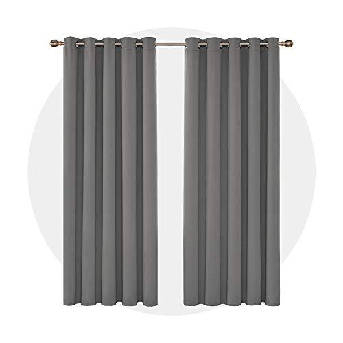 Deconovo Verdunkelungsvorhang Ösen Gardinen Schlafzimmer Ösenvorhang Blickdicht 229x168 cm Hellgrau 2er Set