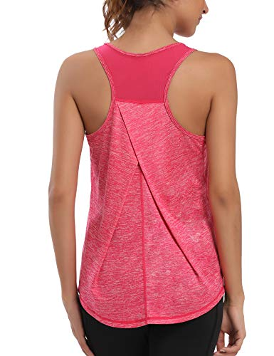 Aeuui Workout Tops for Women Mesh Racerback Tank Yoga Shirts Gym Clothes Rose Red
