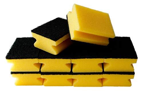 Sonty 10 Stück Topfreiniger Premium, Spülschwamm für hartnäckigen Schmutz, Schwamm mit Schleifmittel, 9 x 7 x 4 cm schwarz/gelb (gelb)