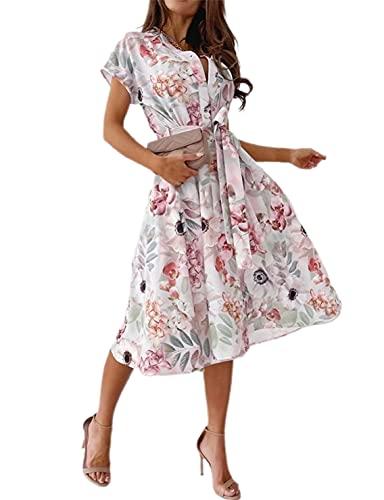 Loalirando Damen-Kleid mit kurzen Ärmeln, Blumendruck, elegantes Hemd für Damen, Büro, Casual, Zeremonie, Pink XL