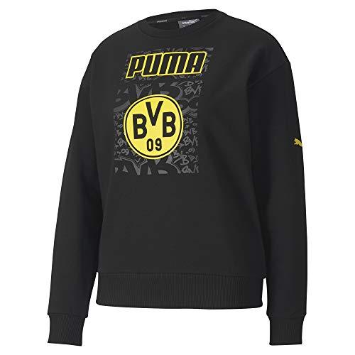 PUMA Dames BVB ftblCore Graphic Crew Sweat W trui, zwart-cyber geel, XS