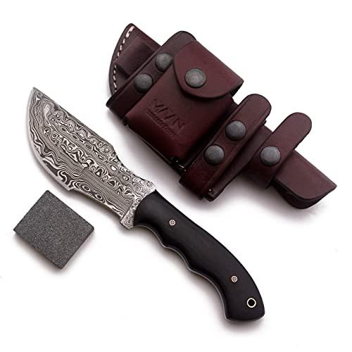MAAN Cuchillo de rastreo hecho a mano de acero de Damasco, para caza, entrenamiento con mango de micarta completo y piel de vaca, M-063