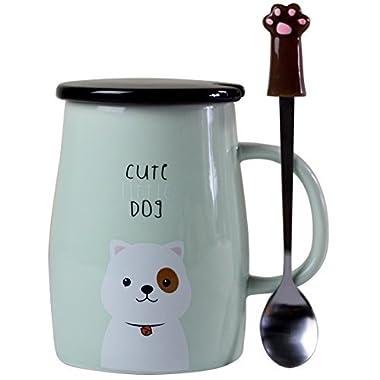 Angelice Home Cute Dog Mug Dog Coffee Mug Funny Ceramic Coffee Mug with Stainless Steel Spoon, Novelty Coffee Mug Gift for Dog Lovers Coffee Lovers