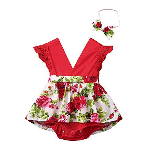 Zegeey Baby MäDchen Bekleidungssets Jumpsuit ÄRmellos DruckenBodysuit Mit Stirnband Geburtstag Geschenk 2-Teiliges(rot,80-90cm)
