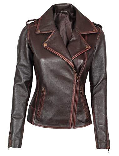 Fjackets Brown Leather Jacket Women - Asymmetrical Genuine Leather Jackets for Women for Biker   [1300884] , Kristen L