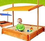 ADGO Bac à sable, en bois, 120 x 120cm, avec sièges et toit, abaissable, pour enfants