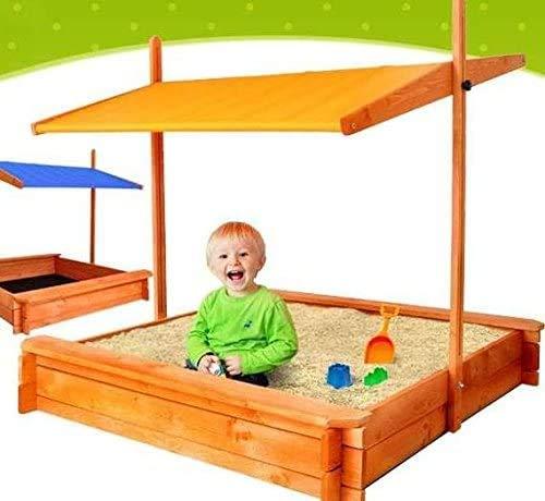 ADGO Caja de arena de madera, 120 x 120 cm, con asientos y dosel ajustable para niños, color naranja