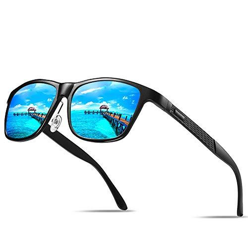 Preisvergleich Produktbild LIANHUI Herren Sonnenbrille Polarisierte Schwarz Retro Aluminium Magnesium Legierung Rahmen Sonnenbrille