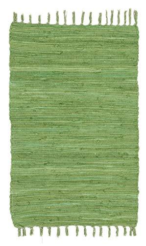 ABC Italia Italia Fleckerlteppich Läufer Reine Baumwolle 30C In Waschmaschine Waschbar , Größe:60 x 100 cm, Farbe:Abano Grün