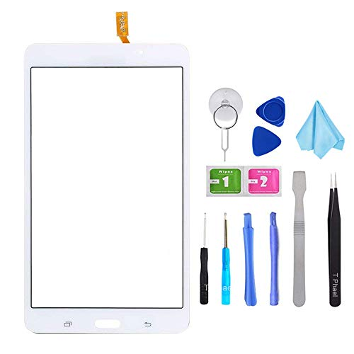 White Touch Screen Digitizer for Samsung Galaxy Tab 4 - Glass Replacement for SM-T230 T230NU 7' inch(Not Include LCD) with Tools + Pre-Installed Adhesive