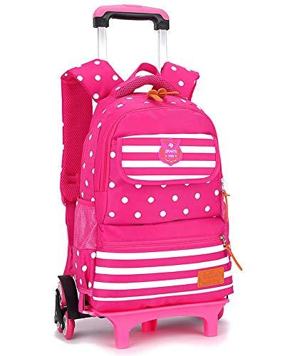 XHHWZB Ultralight Kinder Trolley Schultasche Große 3-5-6 Klasse Jungen und Mädchen Große Kapazität 6-12 Jahre (Color : Rose red)