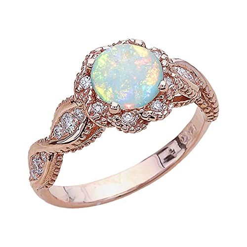 minjiSF Anillo de ópalo blanco para mujer, moderno, piedras preciosas, anillo sintético, anillo único, joya para amantes, regalo para mujer