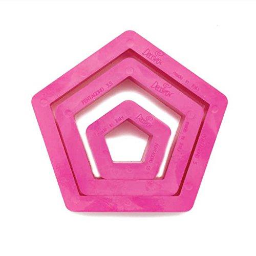 Decora Set Tagliapasta Pentagono, Plastica, Fucsia, 1.5/3.5/5 x 2.2 cm, 3 Pezzi