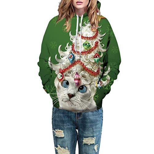 Dosoop Unisex Christmas Hoodies 3D Digital Print Snowman Reindeer Sweatshirt Pullover Long Sleeves Pocket Top Blouse Shirt