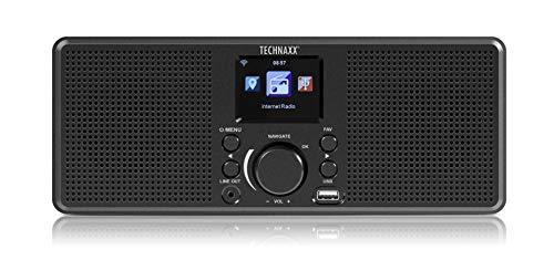 Technaxx Internet Stereo-Radio TX-153 - empfangen Sie Musik aus Aller Welt, 250 Lieblingssender speichern, 2x2W Stereo-Lautsprecher, USB-Anschluss, 2,4