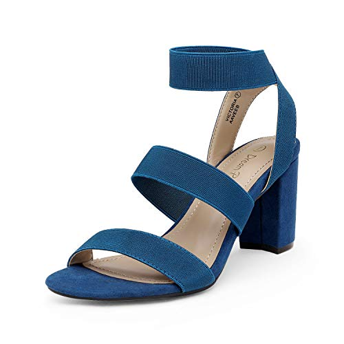 DREAM PAIRS Women's Navy Open Toe High Chunky Elastic Strap Dress Heel Sandals Size 8.5 US Victoria