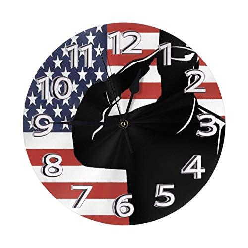 Oh Sweety - Reloj de pared redondo, diseño de bandera americana de PVC y silencioso, no incluye icking