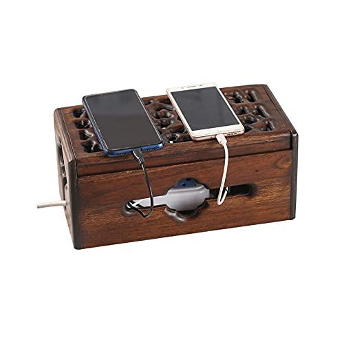 Caja De GestióN De Cables,Caja Organizadora De Cables,Caja Organizadora De Cables,Organizador para Regletas De Enchufes Y Recoge Cable,SolucióN De GestióN De Cables Sencilla,con Cubierta De Madera