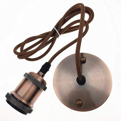 E27 Edison Lampenfassung Pendelleuchte Lampenhalter Kupfer Vintage Retro Antik mit 1,5 Meter Kabel (Rote Bronze)