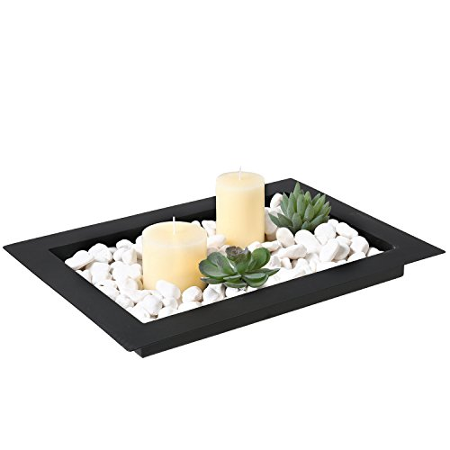 16.5-inch Decorative Metal Wide Rim Centerpiece Platter Display Tray, Black